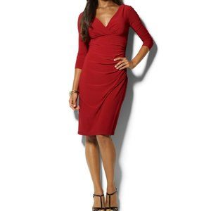 Lauren Ralph Lauren Red Long Sleeve Cocktail Dress
